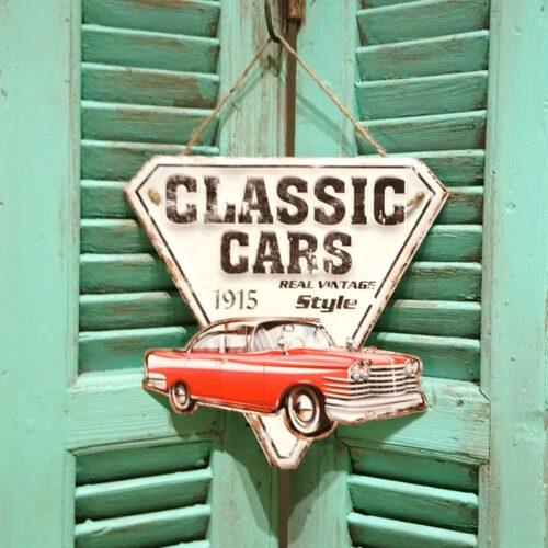 Metalskilt Classic Cars rød bil