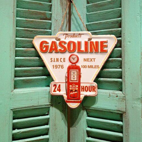 Metalskilt Gasoline rød tekst