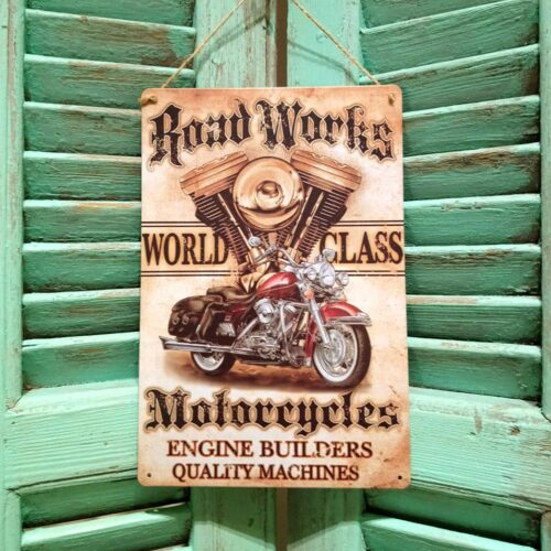 Metalskilt Road Works Motorcykel