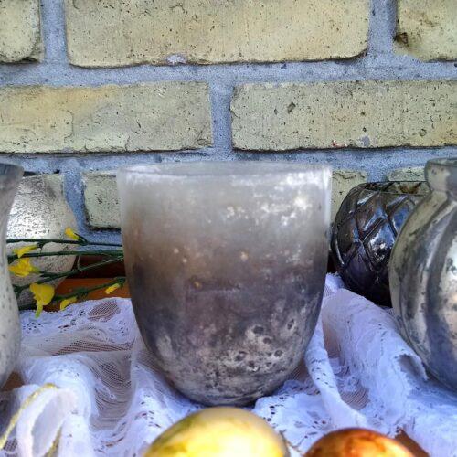 Fyrfadsstage rustikt gråligt stonelook