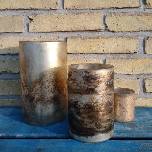 Glasvaser gylden/sølv/brun