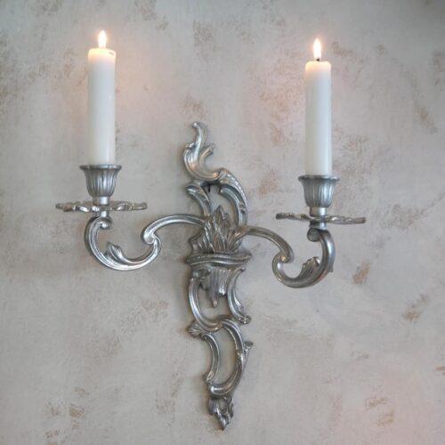 Vægstage 2-armet sølvmalet