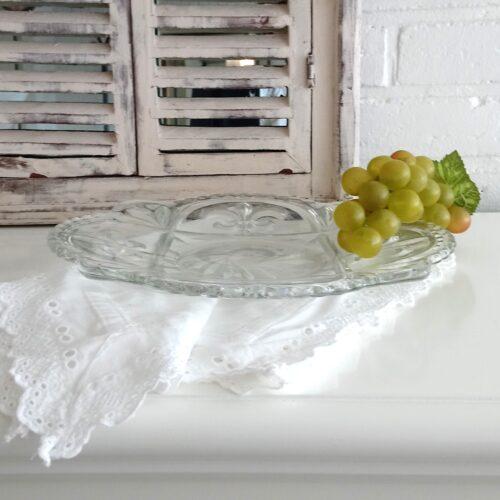 Skønt gammelt glasfad