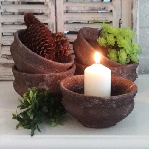 Rustik lerskål brun/hvid
