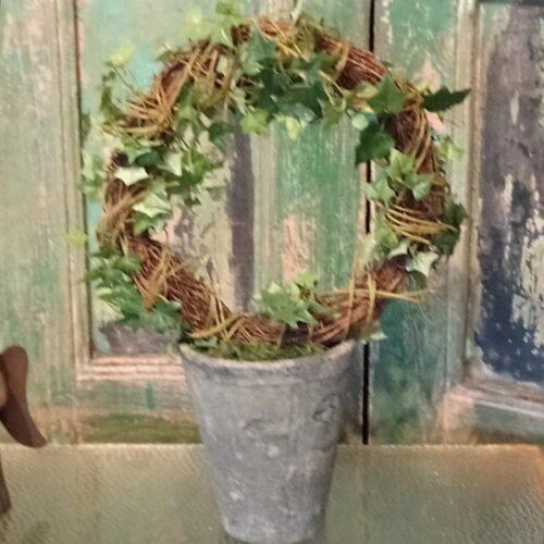 Efeu på bøjle i rustik potte