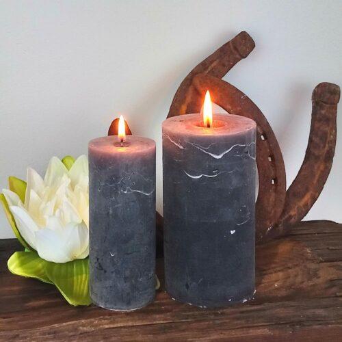 Koksgrå rustikke bloklys