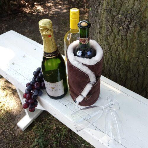 Vinkøler i lammeskind / brunt ruskind