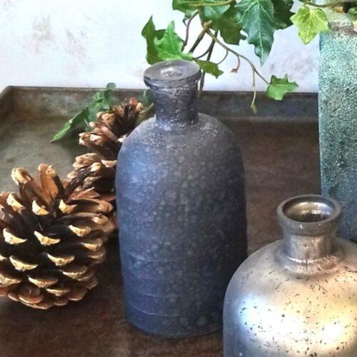 Lille rustik glasflaske blå