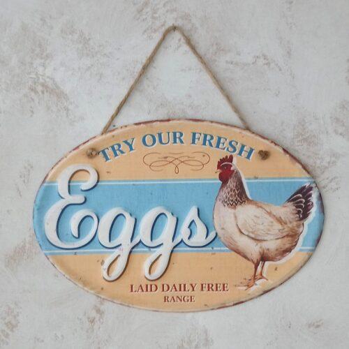 Metalskilt Eggs Laid Daily