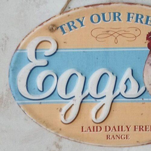 Eggs Daily Laid metalskilt