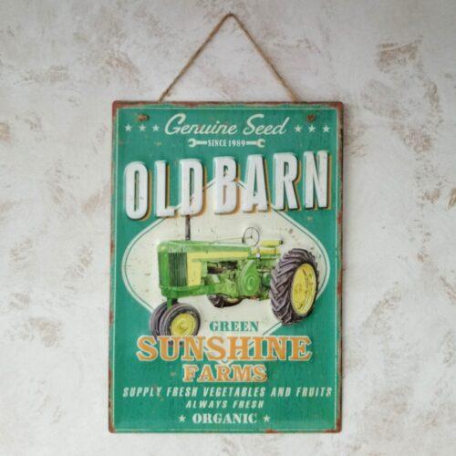 Metalskilt Old Barn Sunshine
