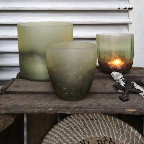 Rustik glaspotte grøn