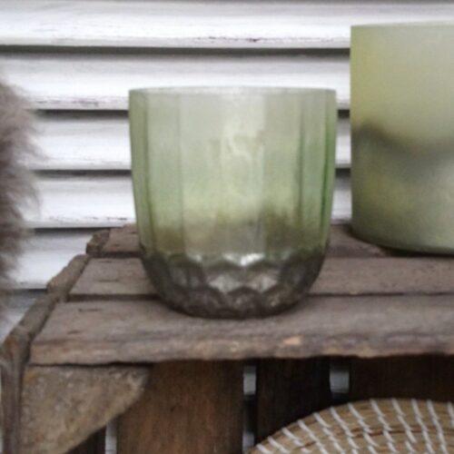 Rustik mønstret grøn glaspotte
