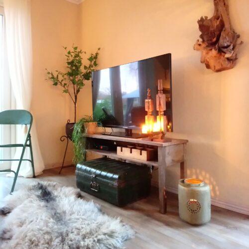 TV. bord rustikt med hylde