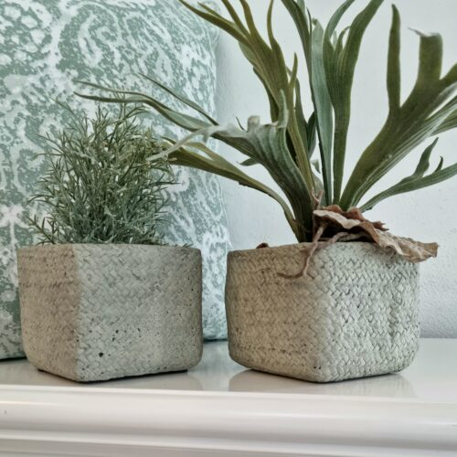 Rustikke støvgrønne lerpotter