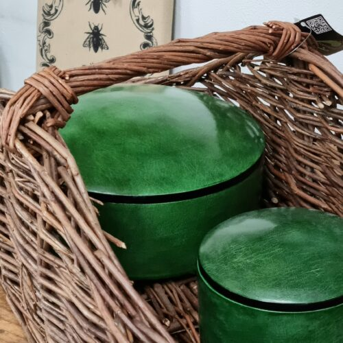 Grøn gedeskinds læderæske