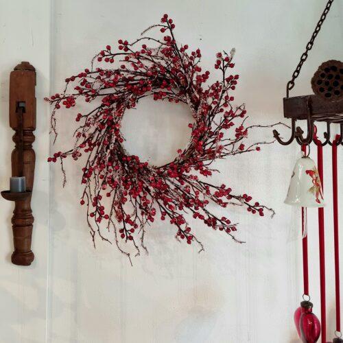 Rød bærkrans med frost